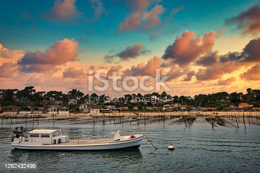 istock Oyster park in the Arcachon basin under the sunset 1262432495