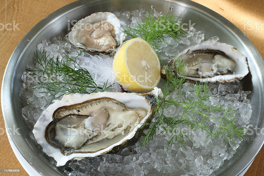 oyster plate stock photo