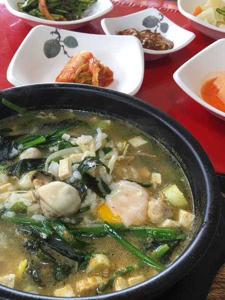 Oyster Rice Soup Korean Food seogwipo stock pictures, royalty-free photos & images