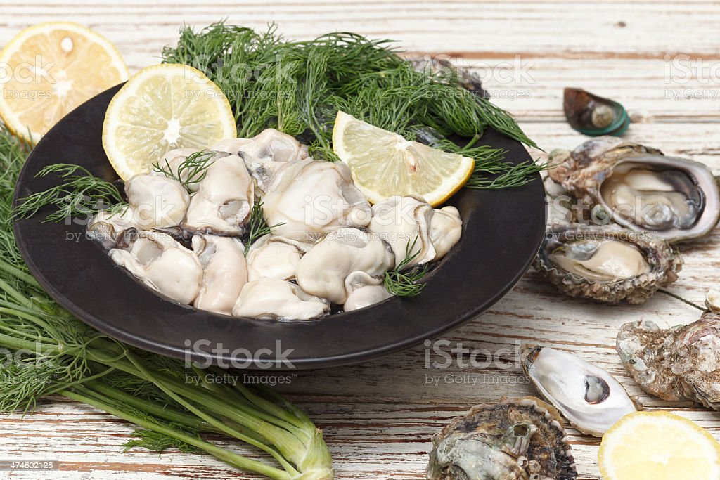 Oyster seafood lemon fresh mussel asia appetizer stock photo