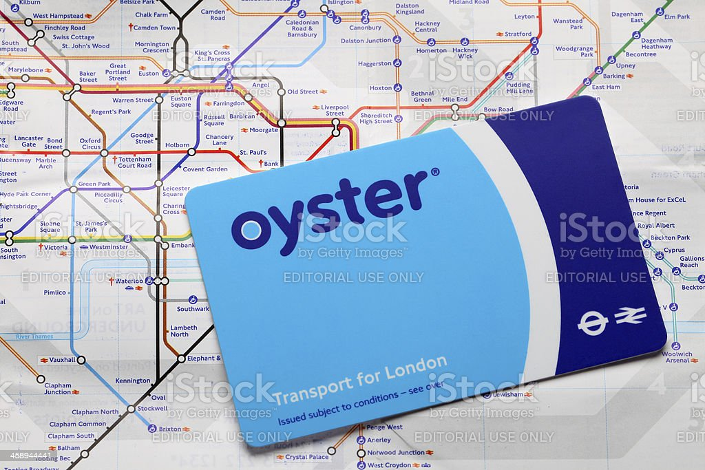 Oyster travel card on tube map royalty-free stock photo
