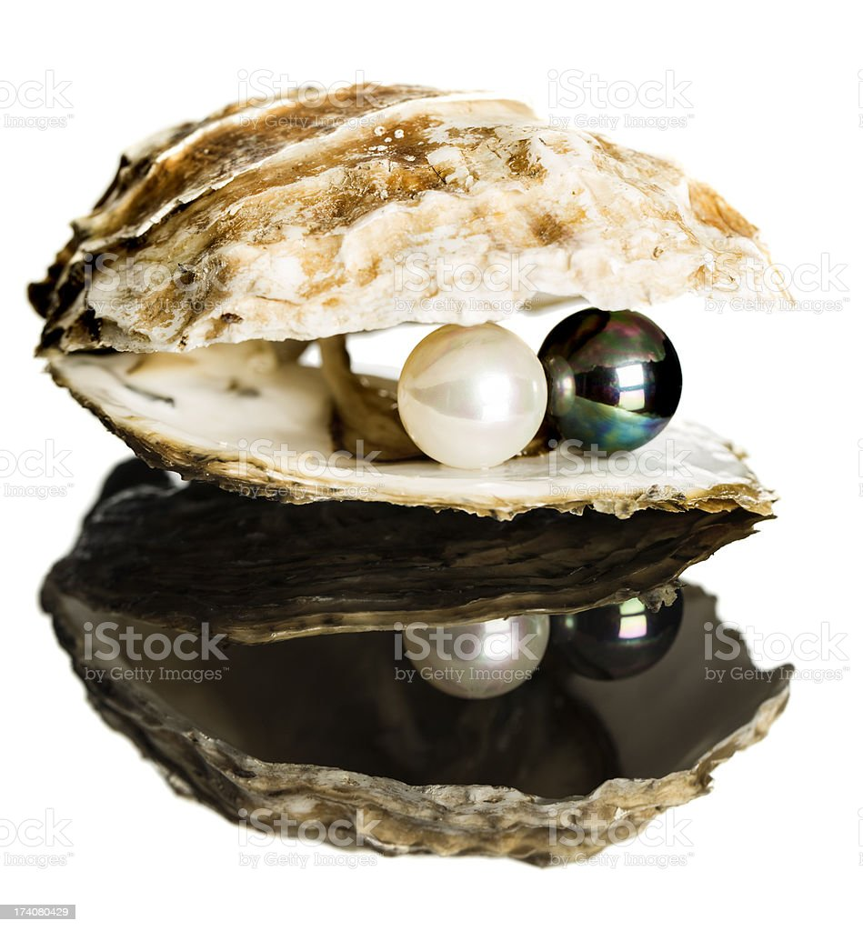 Oyster with black and white pearls royalty-free stock photo