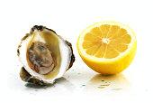 Ripe whole and peeled mandarin and lemon citrus fruit isolated on white background macro Close-up