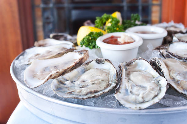 Oysters Half Shell stock photo