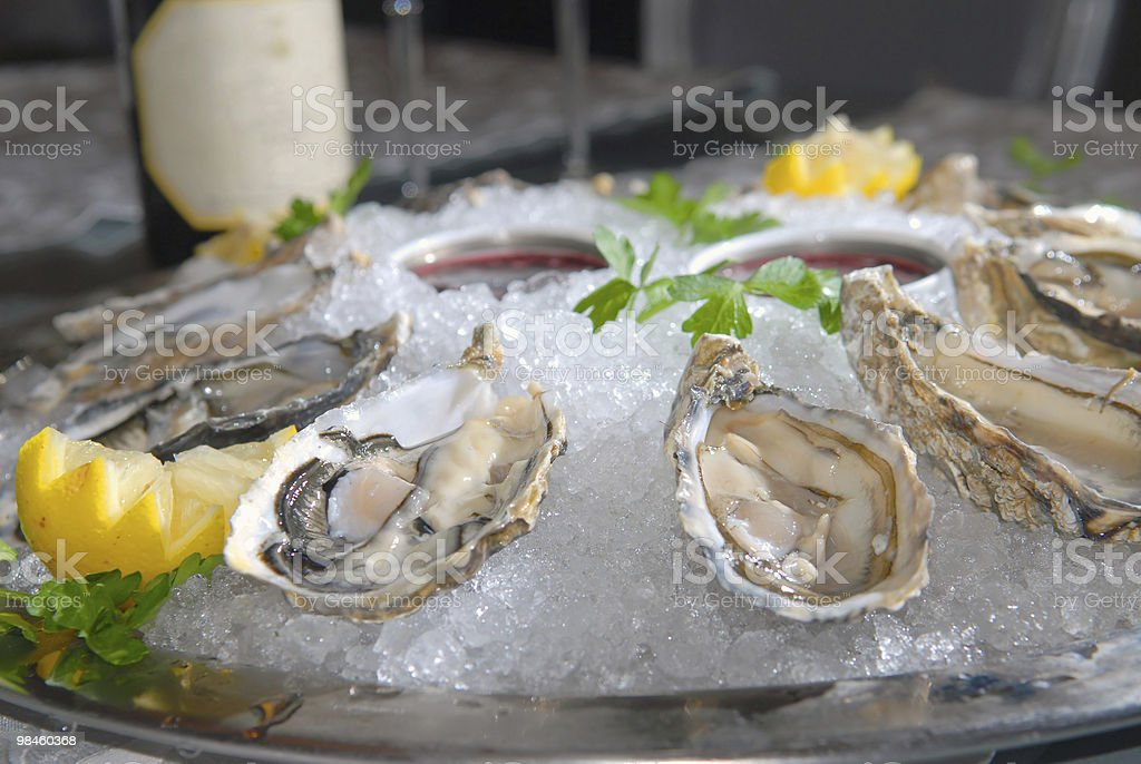 Oysters in ice with royalty-free stock photo