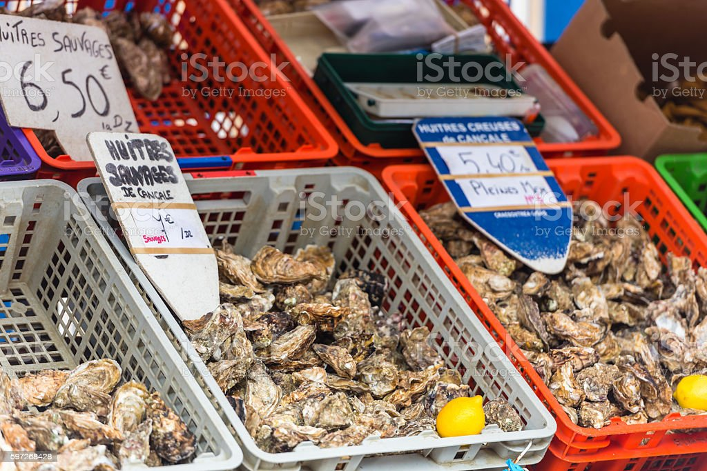 Oysters market in Cancale, France royalty-free stock photo