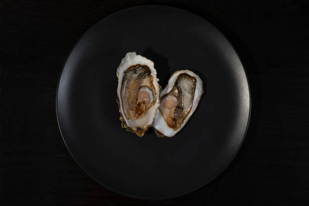 Oysters on a plate, black background. stock photo
