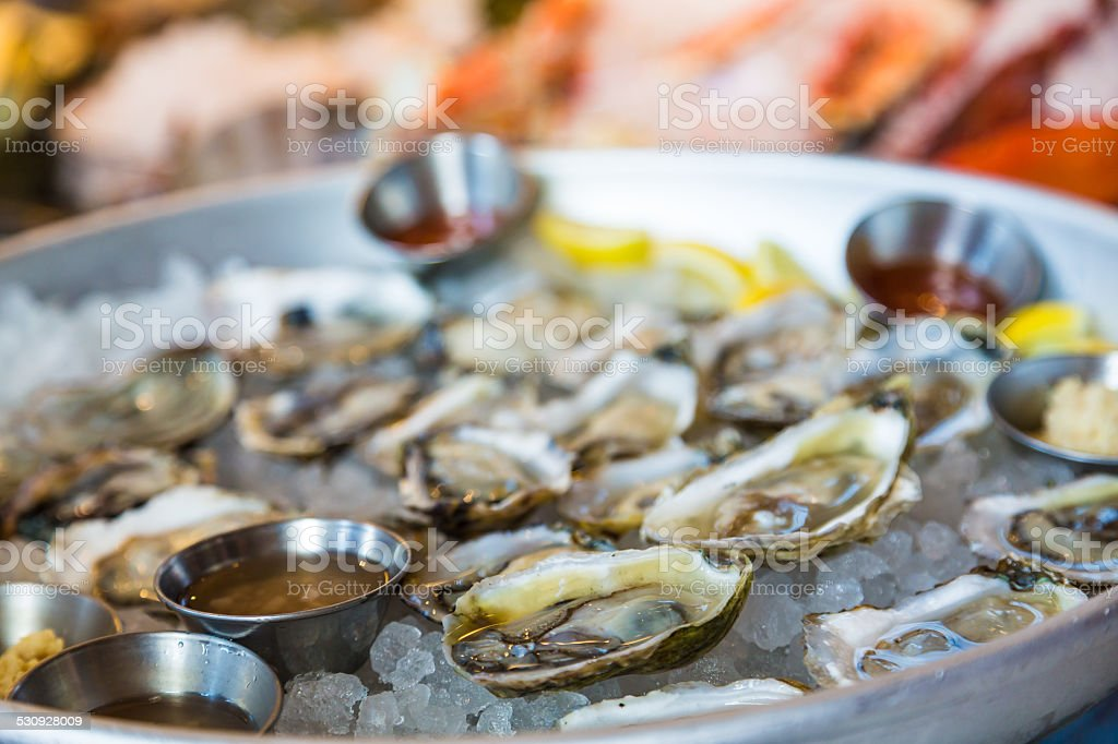 Oysters on Half Shell on Ice stock photo