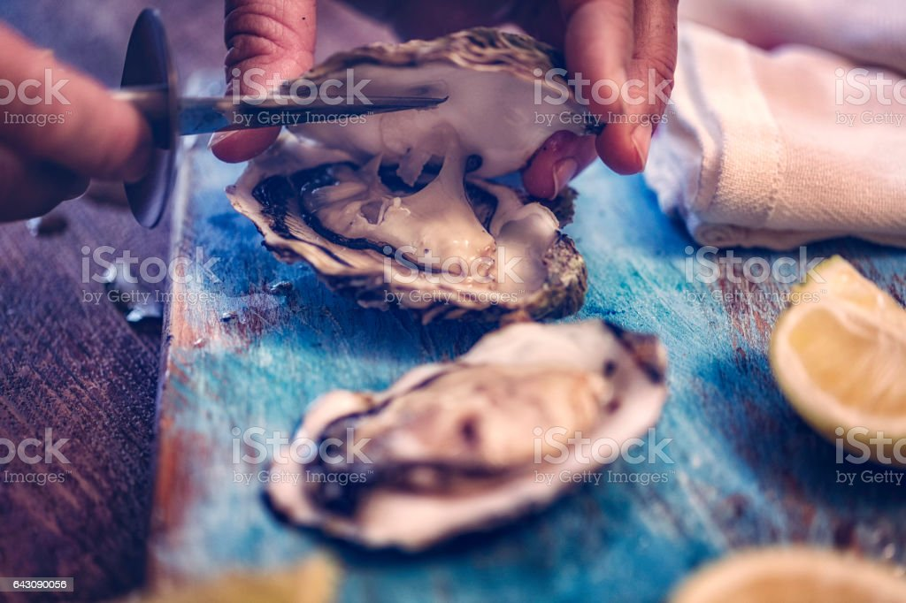 Oysters on plate with ice and lemon stock photo
