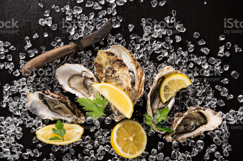 Oysters on stone plate, close-up stock photo