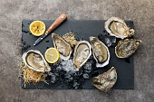 Oysters on the ice and lemon