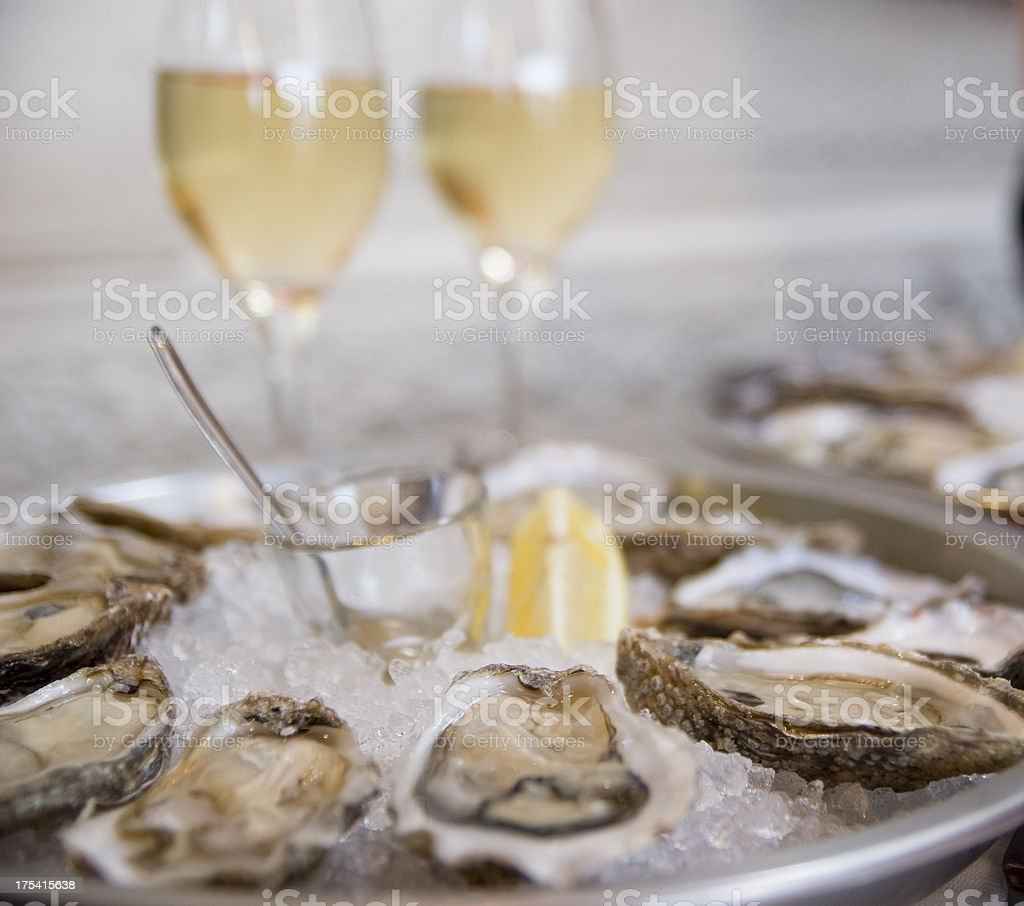 Oysters on the seaside stock photo
