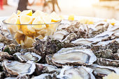 Fresh oysters in a plate with ice and lemon