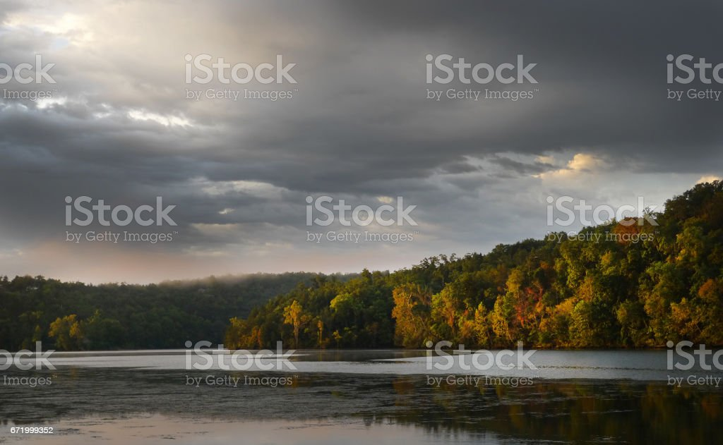 Ozark morning with clouds on the lake stock photo