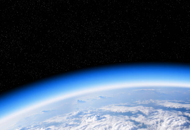 dünya gezegeninin uzay görünümünden ozon tabakası - stratosfer stok fotoğraflar ve resimler