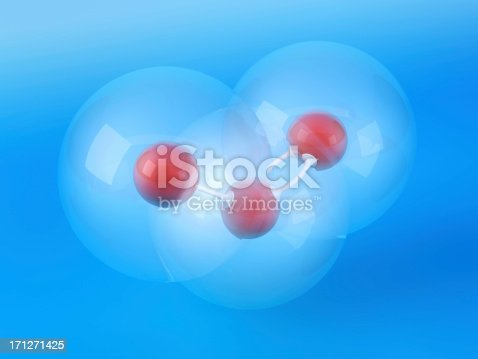 3D Render of an Ozone Molecule Ball-And-Stick Model in front of a blue background. Van der Waals radius: Oxygen 152 pm. Bond angle: 116.8 degree. Very high resolution available! Use it for Your own composings!