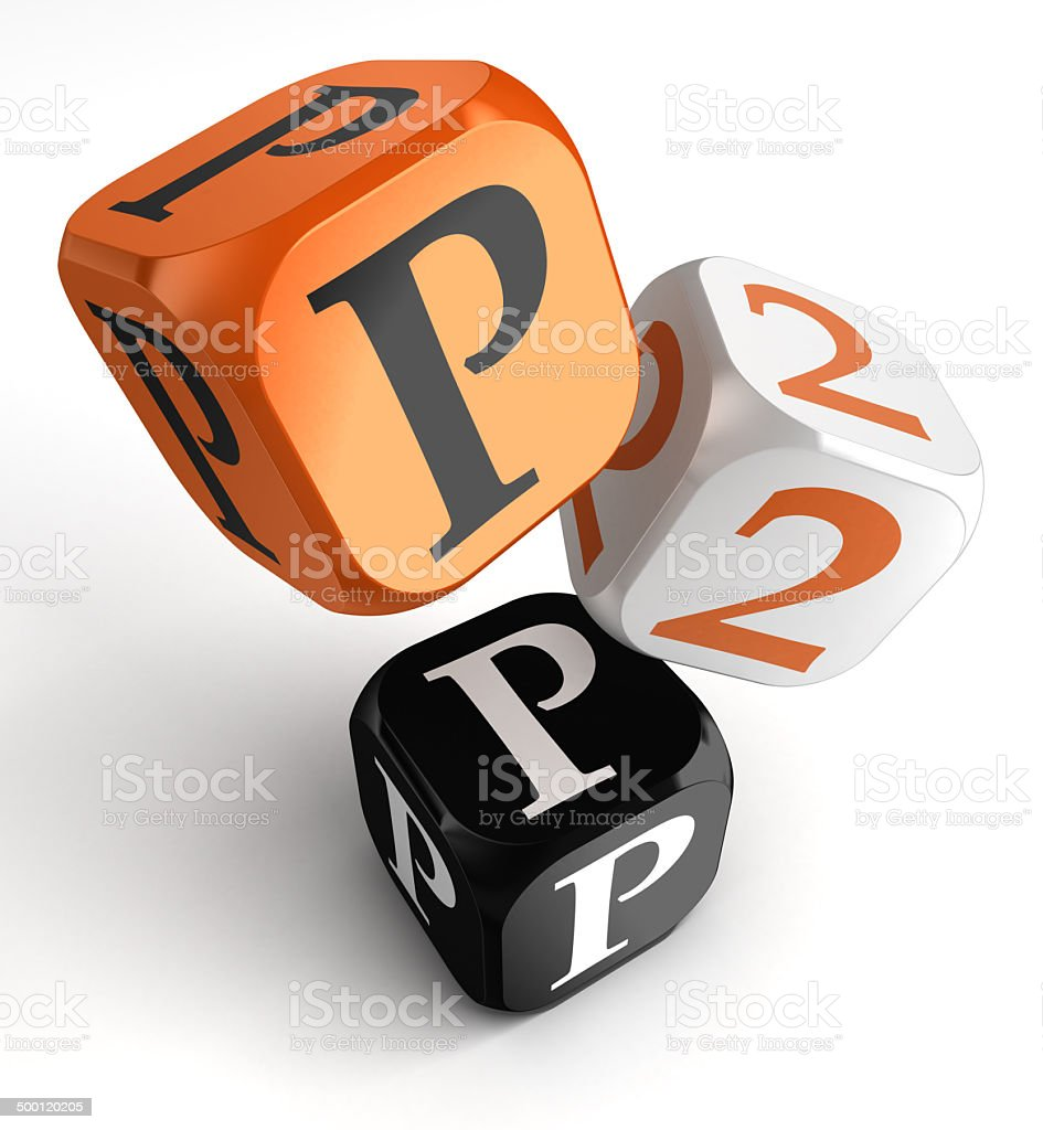 P2p orange black dice blocks stock photo