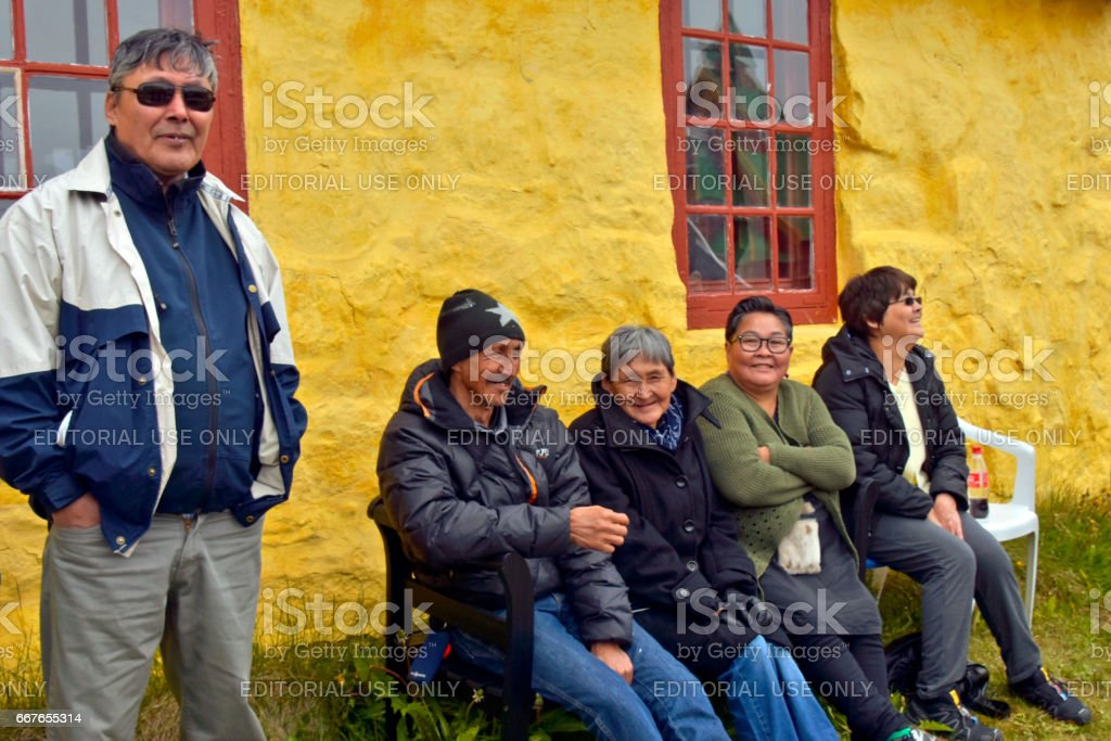 Paamiut Greenland Inuit People stock photo