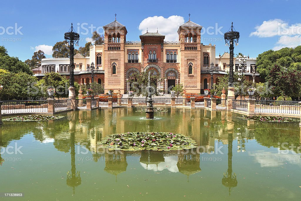 Pabellón Mudéjar, Parque de María Luisa, Seville, Spain stock photo
