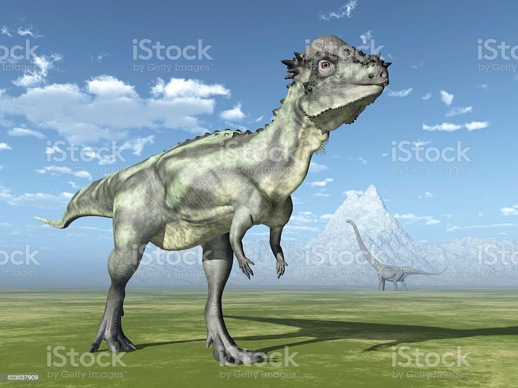 Pachycephalosaurus and Mamenchisaurus Computer generated 3D illustration with the Dinosaurs Pachycephalosaurus and Mamenchisaurus Animal Stock Photo