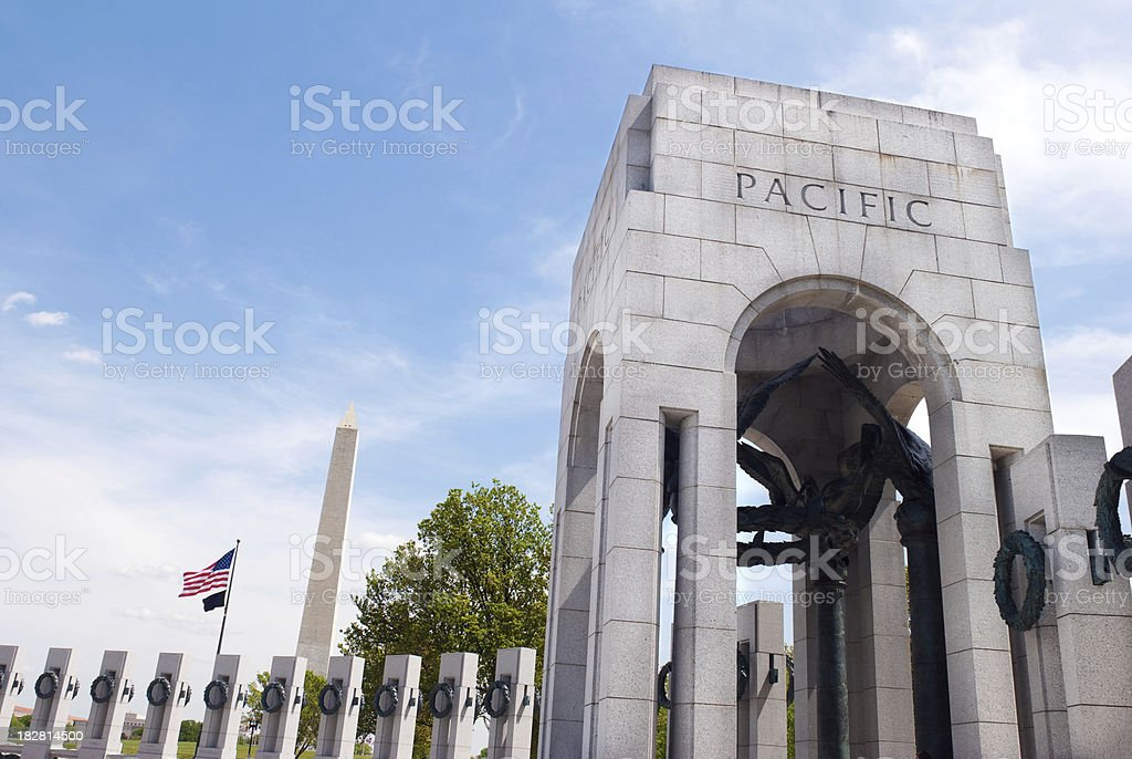 Pacific arch at World War II Memorial in Washington DC stock photo
