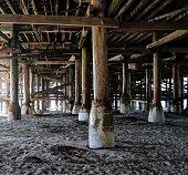 Views underneath the Pacific Beach Pier in San Diego