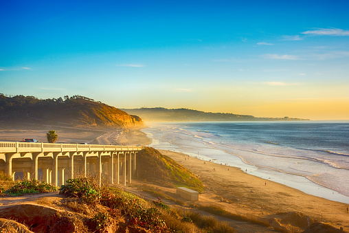 A bridge on the 101 along the beach in Del Mar, California, located just north of San Diego.