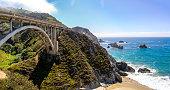 Pacific Coast Highway (Highway 1) at southern end of Big Sur, California near Bixby Bridge (Rocky Creek Bridge)