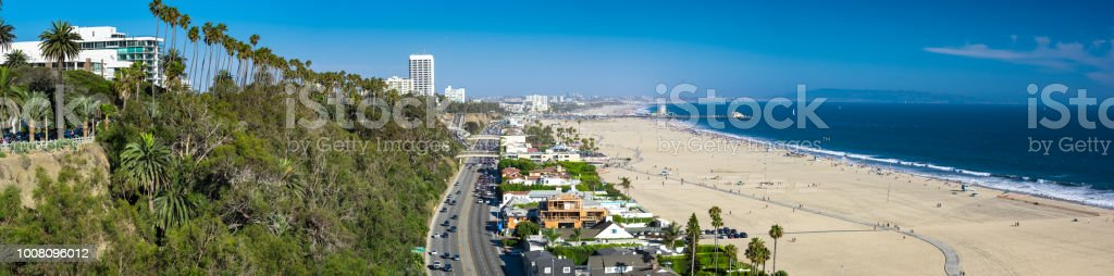 Pacific Coast Highway in Santa Monica - Aerial Panorama stock photo