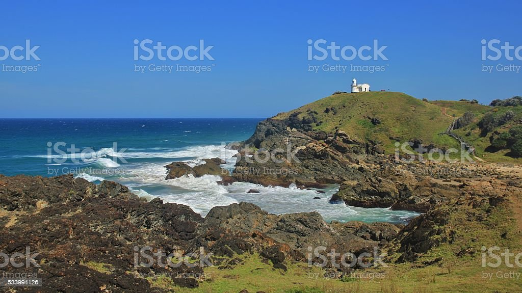 Pacific coast in Port Macquarie, small lighthouse stock photo