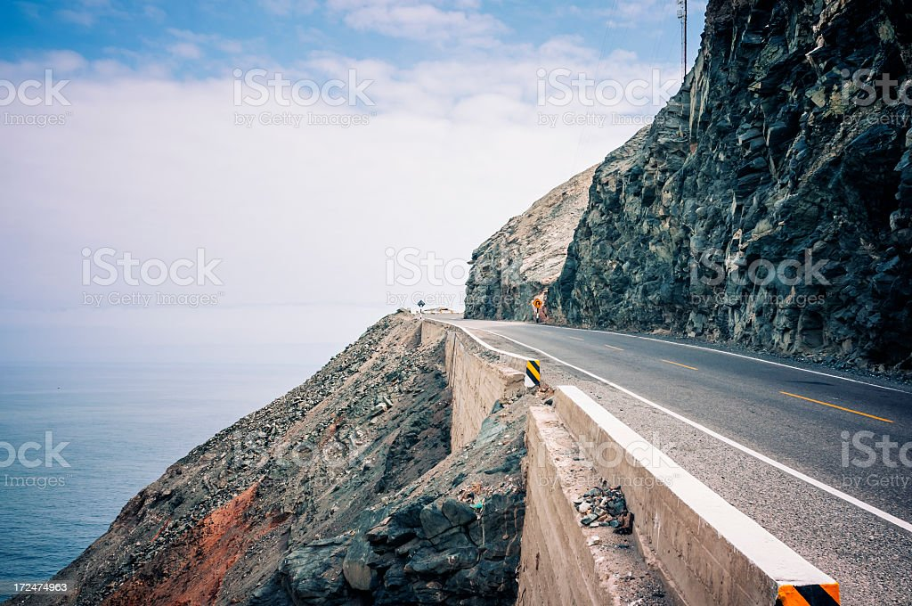 Pacific Coast of Peru with road stock photo