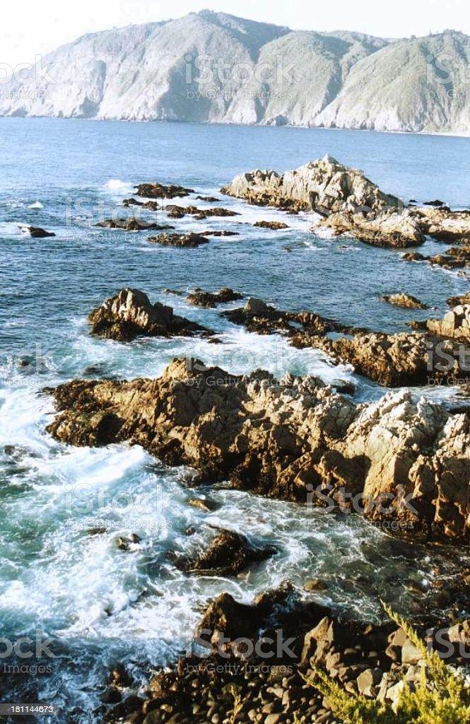 Pacific coast with rocks and teh sea near Valaparaiso royalty-free stock photo