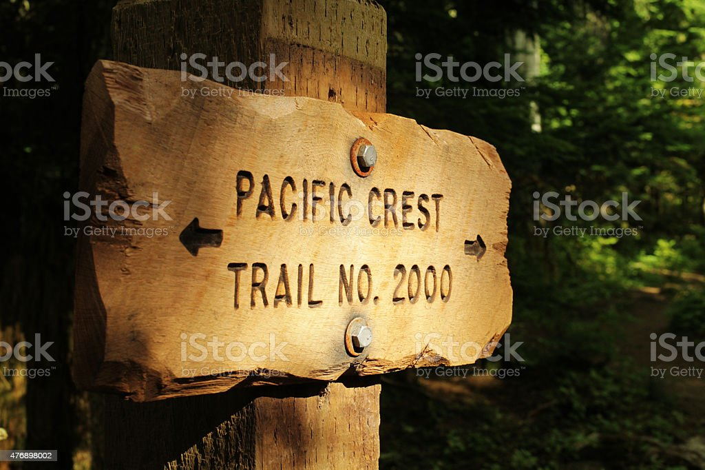Pacific Crest Trail marker stock photo