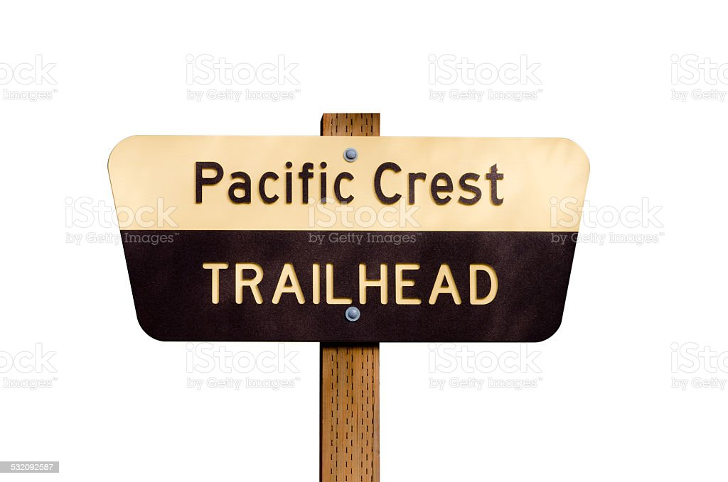 Pacific Crest Trail sign on post isolated stock photo