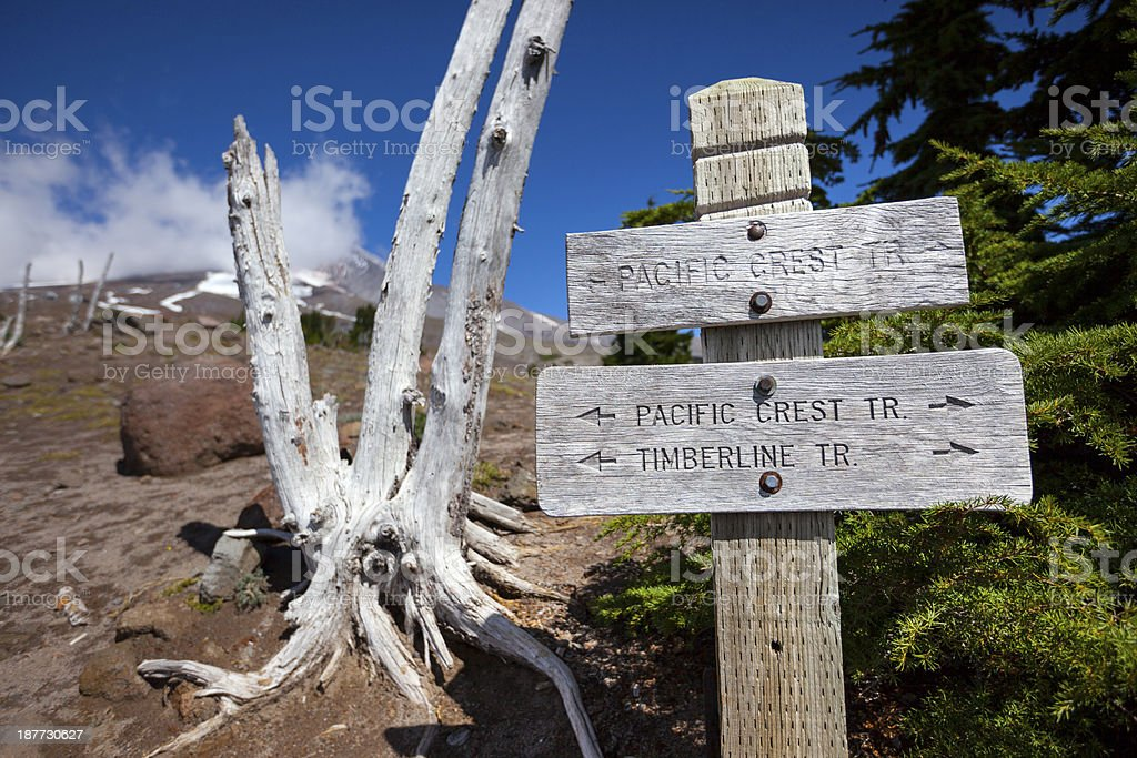 Pacific Crest Trail Sign. stock photo