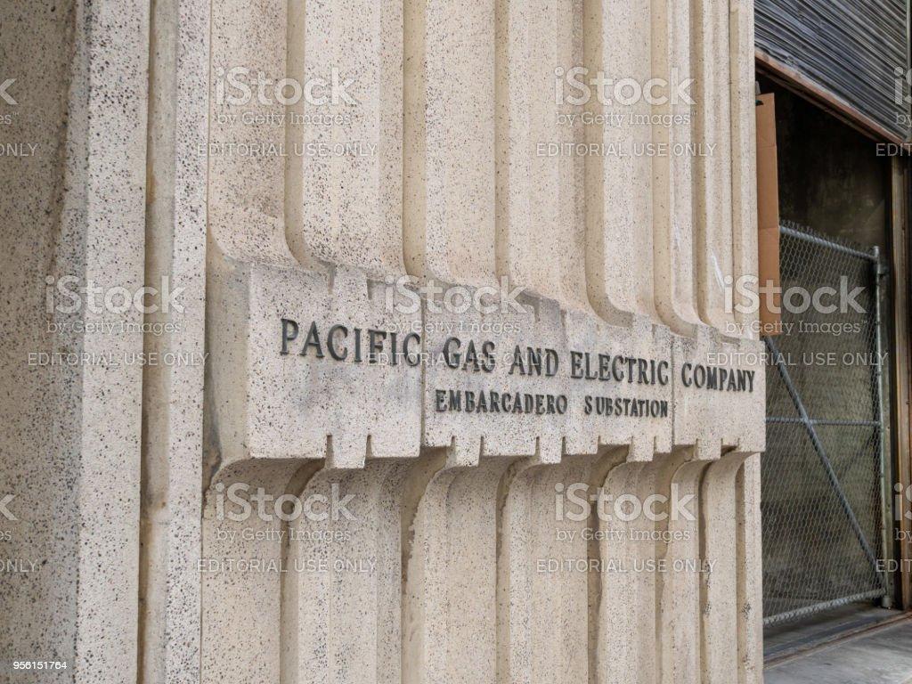 Pacific Gas & Electric (PG&E) location located in San Francisco Embarcadero stock photo