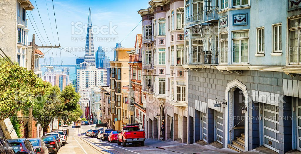Pacific heights street scene panoramic view towards downtown stock photo