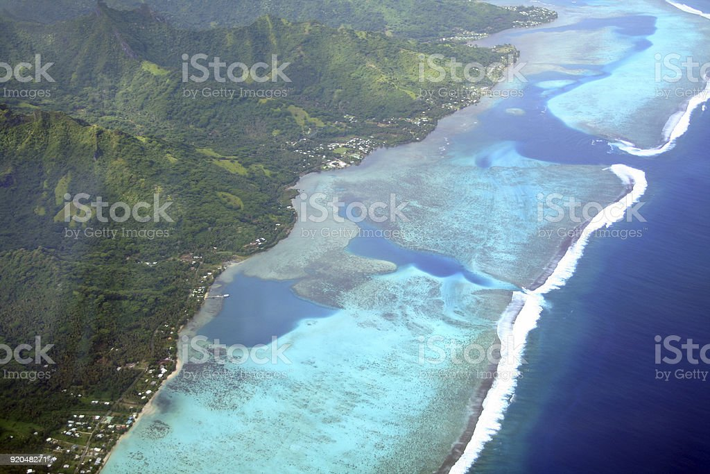 Pacific island lagoon royalty-free stock photo