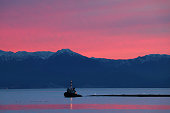 Juan De Fuca Strait at sunset.