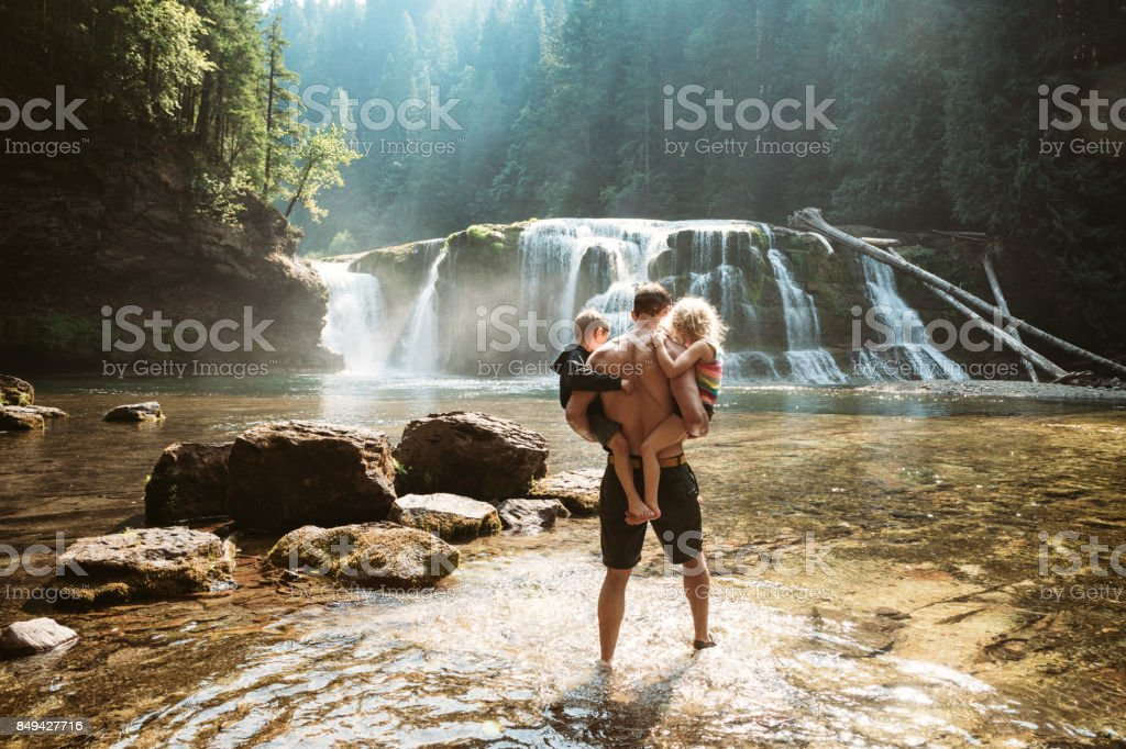 Pacific Northwest Waterfall stock photo
