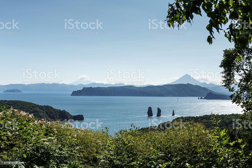 Pacific Ocean and Avacha Bay (Kamchatka) stock photo