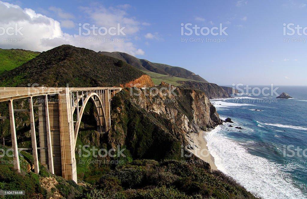 Pacific Ocean and Bixby Creek Bridge in Big Sur, California stock photo