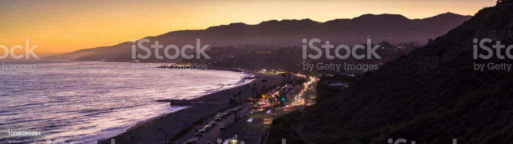 Pacific Ocean and Santa Monica Mountains at Sunset - Aerial Panorama stock photo