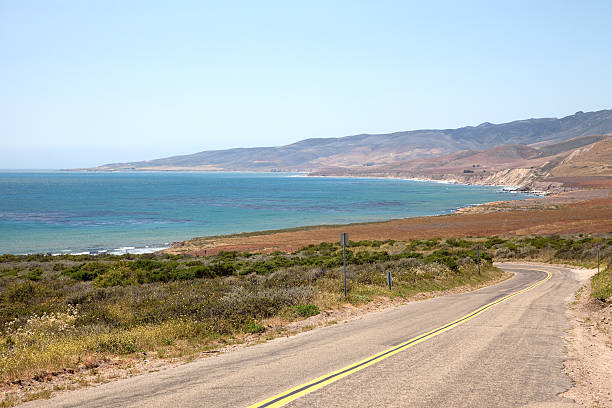 Pacific Ocean Coastline and Road to Jalama Beach, California stock photo