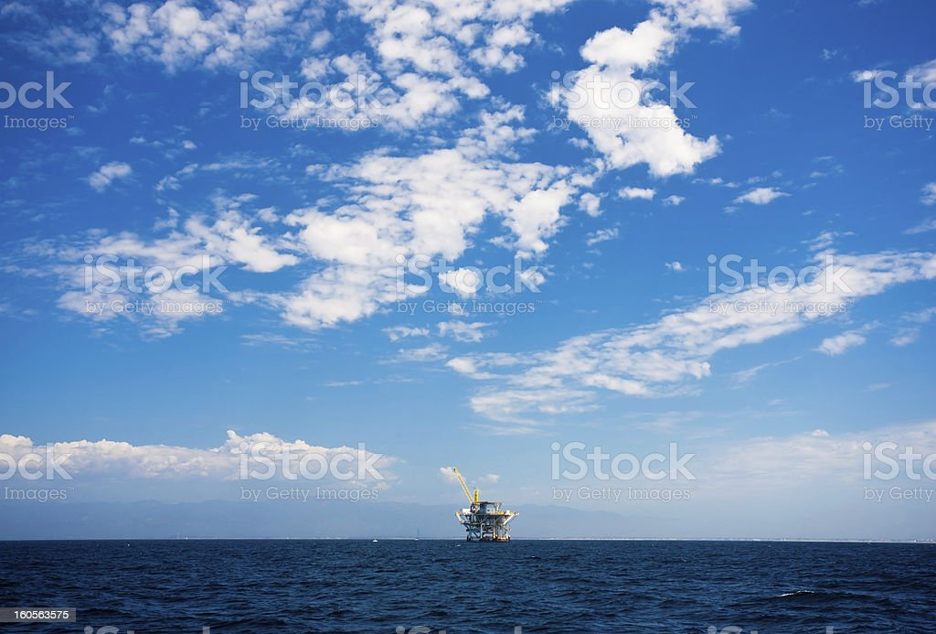 Pacific Ocean offshore oil rig drilling platform, California, USA