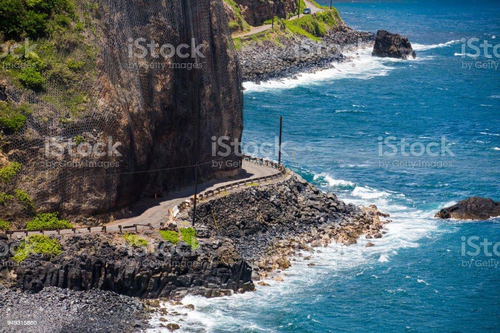 Pacific ocean scenic- Road to Hana Mau Hawaii stock photo
