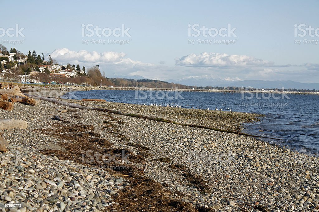 pacific ocean shoreline Semiahmoo Bay near White Rock royalty-free stock photo