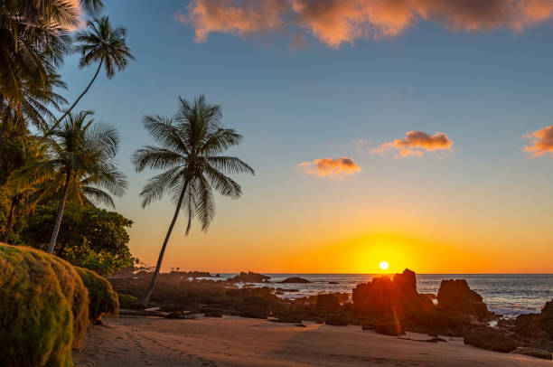 Pacific Ocean Sunset, Costa Rica Sunset along the volcanic rock beach of Corcovado national park with a sunbeam by the Pacific Ocean, Osa Peninsula, Costa Rica, Central America. limoen stock pictures, royalty-free photos & images