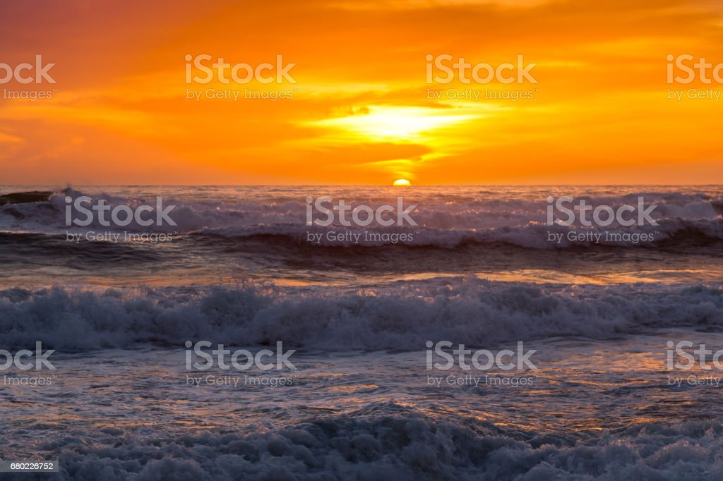 Pacific Ocean Sunset Crushing Waves Torrey Pines San Diego California stock photo