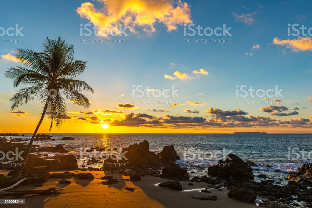 Pacific Ocean Sunset in Costa Rica stock photo